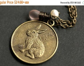 BACK to SCHOOL SALE Rabbit Chinese Zodiac Necklace. Chinese Astrology Necklace. Asian Horoscope Necklace. Rabbit Necklace. Chinese Necklace.