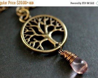 VALENTINE SALE Tree Necklace in Bronze. Tree of Life Necklace. Wire Wrapped Pink Teardrop Necklace. Handmade Jewellery.