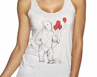 Women's Tank Top | Tri-Blend | Racer back | Polar Bear | Red Balloons | Summer Tank | Gift for Her |