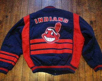 Cleveland Indians winter jacket varsity style MLB baseball coat Nutmeg XL