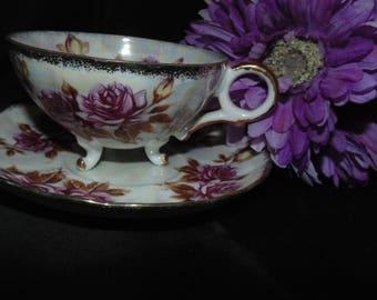 Vintage Antique Japan M-126 Pedestal Tea Cup and Saucer Purple Pink Roses Flowers Floral Gold Gilt