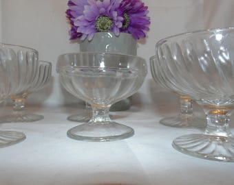 6 Vintage Clear Sundae Ice cream pudding dishes cups dessert
