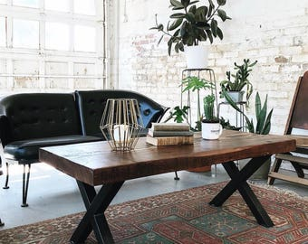 IN STOCK- Industrial Reclaimed Coffee Table with X Legs