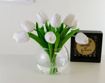 Real Touch White Tulip Arrangement in Round Glass Vase Artificial Faux for Home Decor