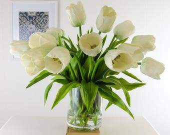 large real touch white tulips artificial flowers arrangement in cylinder glass vase for artificial faux home - Flowers For Home Decor