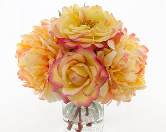 Real Touch Orange Yellow Roses and Finest Silk Peonies Arrangement with Artificial Faux in Cylinder Glass Vase for Home Decor