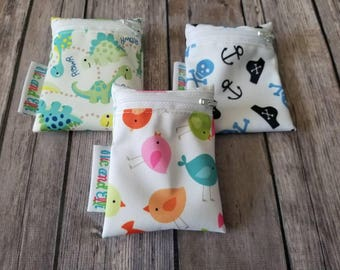 Wetbag Minis Set of 3 ~ Travel Size Mini Zippered Dinosaur WetBag ~ Binky Bag ~ Cosmetic Purse Bag