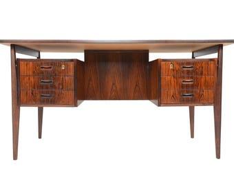 Danish Mid Century Modern Brazilian Rosewood Desk In The Manner Of Vodder