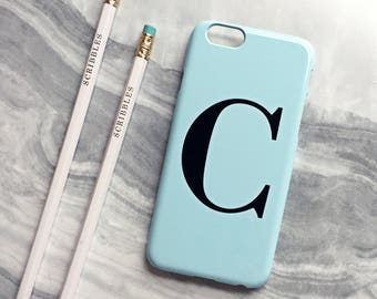 Pastel blue alphabet phone case - Monogram phone case, initial iPhone case, Samsung Galaxy S8 PLUS, iPhone SE case, iPhone 7 Plus Case