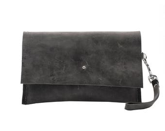 Small  Leather Bag, Clutch Bag, Gray Leather Accessory, Foil Monogramming