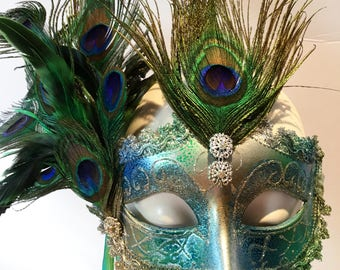 Masquerade Mask- Peacock Mask- Blue Mask- Peacock feathers- Mardi Gras- New Year Eve Mask- Masked Ball- Venetian Ball - Peacock Costume