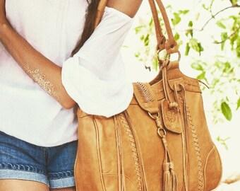 SALE. FREE SPIRIT. Tan leather tote bag / leather shoulder bag / boho leather bag / shoulder purse /bohemian.