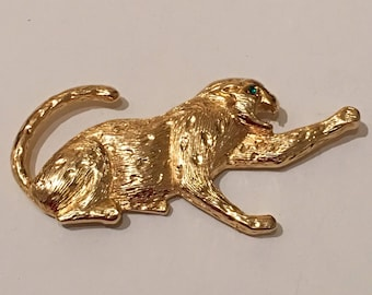 Gold Spotted Leopard Brooch / Pin Large