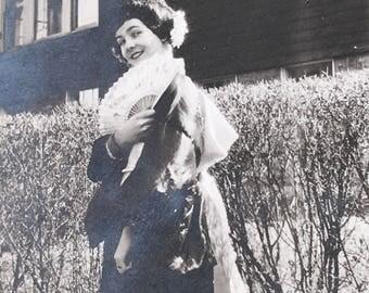 Coy Geisha Flapper Girl Vintage Photo