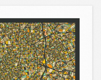 MADRID MAP (Giclée Fine Art Print, Photographic Print or Poster Print) dark version