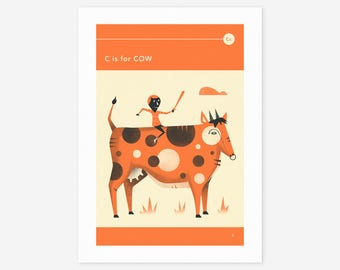 C is for COW (Giclée Fine Art Print/Photo Print/Poster Print) by Jazzberry Blue