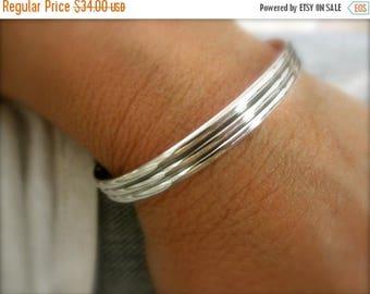 10%0FF NEW Sterling silver cuff bracelet striped pattern - solid 925 sterling silver - sterling cuff - hand forged bracelet -