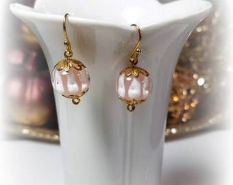 playful white striped pink bead gold earrings hypoallergenic earrings nickel free earrings adorable dangle drop jewelry gifts for her