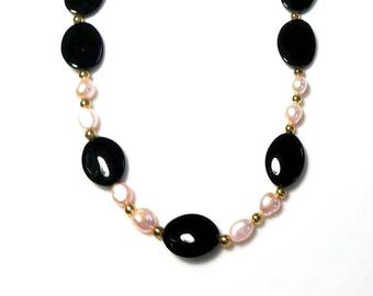black bead pink freshwater pearl gold necklace retro beaded jewelry unique handmade necklace gifts for her necklaces for women