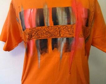 T-shirt painted by hand, unique piece, orange and black