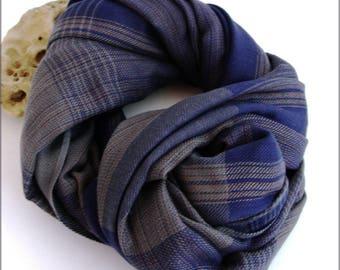 Scarf men-blue-grey/Beige/black - stripes and plaid pattern