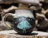 47 Pitch Pine Pottery Art Nouveau Stoneware Luna Moth Mug - Opalescent  22 oz