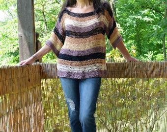 Boxy Crochet Sweater, Oversized Sweater, Short Sleeves Sweater, Women Clothing, Spring Sweater, Crochet Sweatet, Striped Sweater