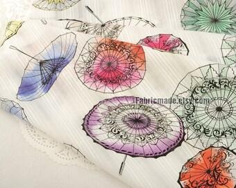 Jacquard Cotton Fabric, Jacquard Stripes Vintage Flower Umbrella Cotton For Clothing Dress Fabric - 1/2 yard