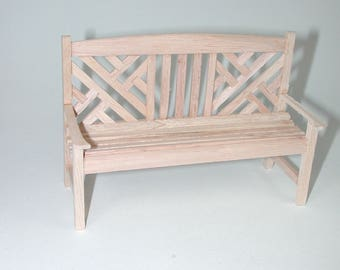 Garden Bench, for the doll parlor, the doll house, Dollhouse miniatures, cribs, miniatures, Model Building # v 22035