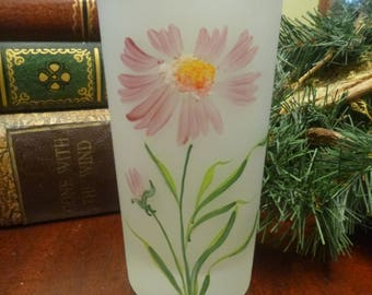 Frosted Tumbler With Hand Painted Dahlia,  Frosted Gay Fad Tumbler  14 Oz   (T)