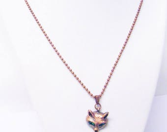 Petite Copper Plated Green Eyed Fox Charm Necklace