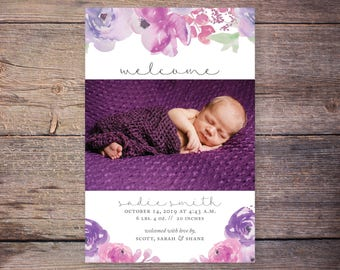 Floral Birth Announcements, Flowers, Baby Girl Birth Announcement, New Baby Invite,  Printable, Custom Photo Card –Sadie