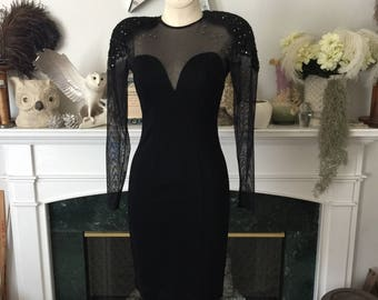 80s CACHE Bandage Dress with rhinestone accents