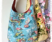 Vintage barkcloth fabric slouchy shoulder bag - turquoise holiday scenes
