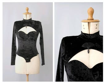 Arabel 1980s cut out Bodysuit black velvet embellished with fan and pearl