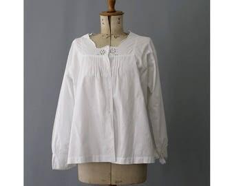 Antique french cotton Blouse white Large / 1900s cotton blouse large