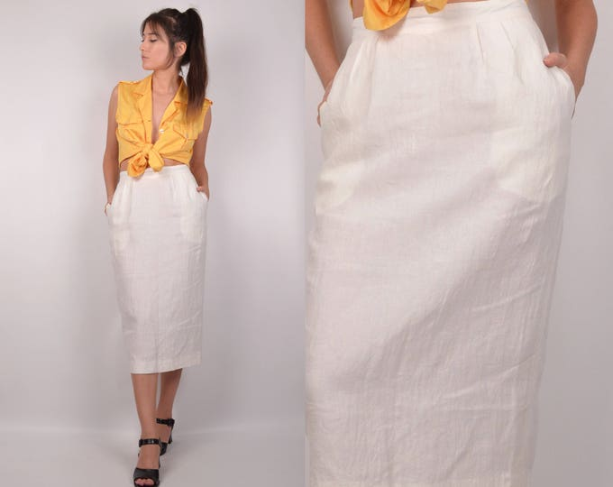 White Linen High Waisted Midi Skirt