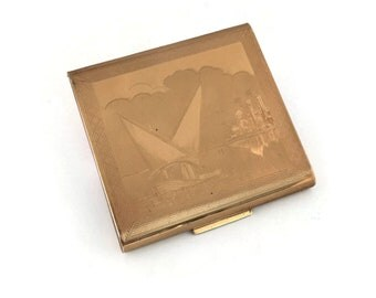 Zenette Powder Compact | Egyptian Felucca River Nile Boat Scene | 1940s 1950s | Vintage Powder Compact | Made In England