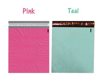 "10, 20) 12x15.5"" Pink and Teal Flat Poly Mailers, Mailing Shipping Bags, Colored Poly Mailer Vibrant Self Seal Wrappingmeup Envelopes Combo"