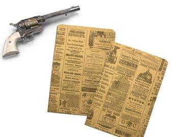 On Sale 50 6x9 Newspaper print Paper Kraft Bags,  Vintage style Newsprint Favor Craft Bags
