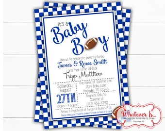Blue & White Football Baby Shower Invitation | Sports Baby Shower Invitation | Football | College Football | Kentucky | Wildcats | Printable