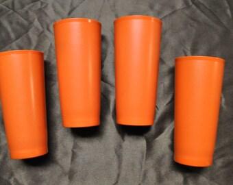 "4 Orange Tupperware Tumblers - 7 1/2"" Tall - 16 ounces (2 cups)"