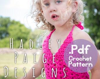 MARINA Top crochet pattern by Hadley Paige Designs.  Summer wear. Outlines 4 sizes.  Boho baby/kids. Beach wear.  Kids fashion.  Festival.