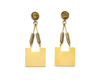 Cleo Earrings- Oxidized Brass- Geometric Statement Earrings