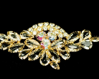 D&E Brooch Rhinestone Brooch  Large Vintage Juliana Brooch  Clear AB