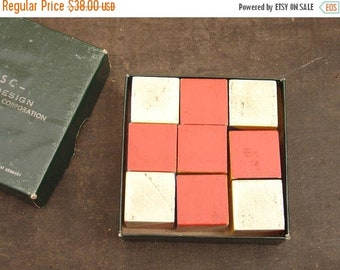 ON SALE vintage WISC block design psychological corp test, children's painted blocks