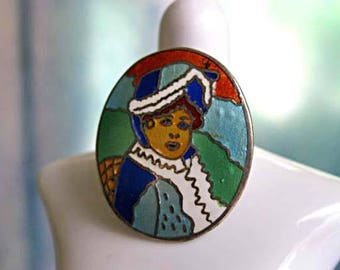 Portrait Ring, Sterling Enamel Basse Taille Inlay Cloisonne, Spanish Court Face Bust Image 15th Century, Womans Painting, Size 7.5