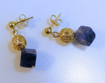 Sodalite Cube Gold Post Earrings