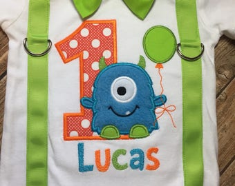 Custom boys first birthday little monster bodysuit or shirt with suspenders and bow tie