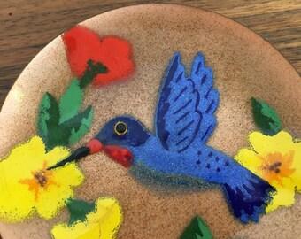 Annemarie Davidson enamel on copper hummingbird mini plate